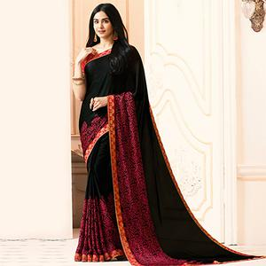 Black Colored Casual Wear Printed Georgette Saree