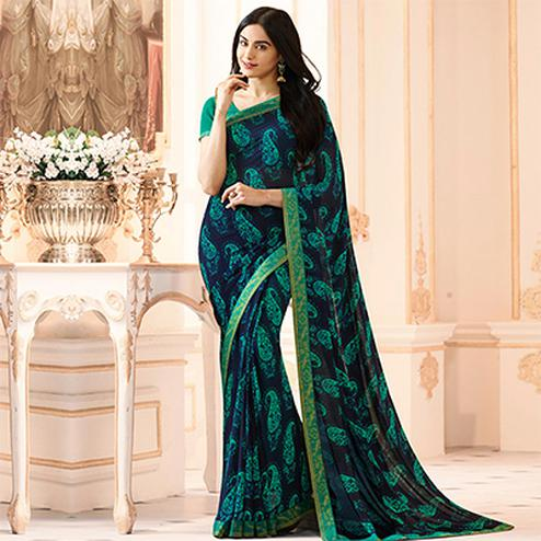 Dark Blue Colored Casual Wear Printed Georgette Saree