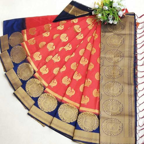 Graceful Red Coloured Festive Wear Woven Muga Silk Saree