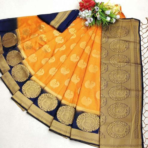 Blooming Orange Coloured Festive Wear Woven Muga Silk Saree