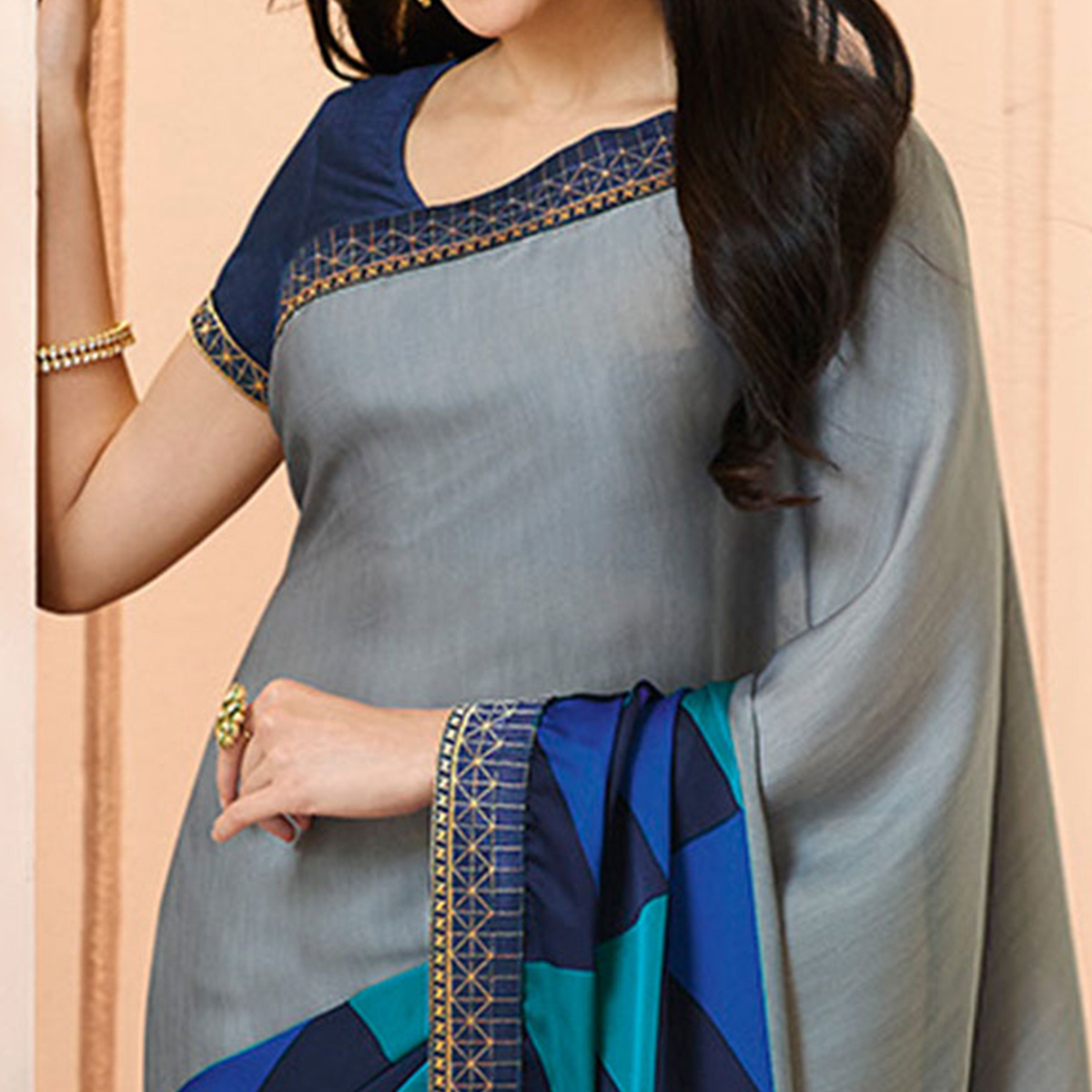 Gray Colored Casual Wear Printed Georgette Saree