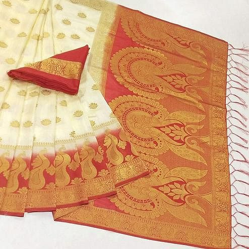 Lovely White Coloured Festive Wear Woven Muga Silk Saree