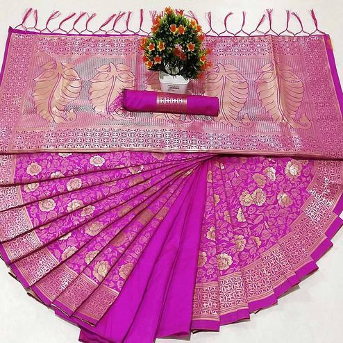 Gleming Pink Coloured Festive Wear Woven Banarasi Silk Saree
