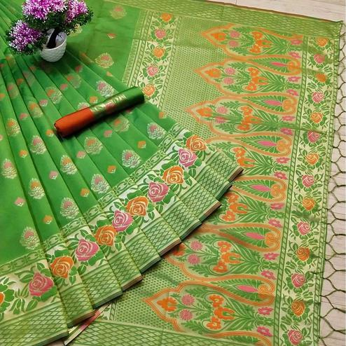 Graceful Green Coloured Festive Wear Woven Banarasi Silk Saree