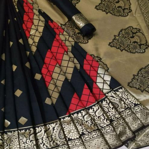 Glorious Black Coloured Festive Wear Woven Banarasi Silk Saree