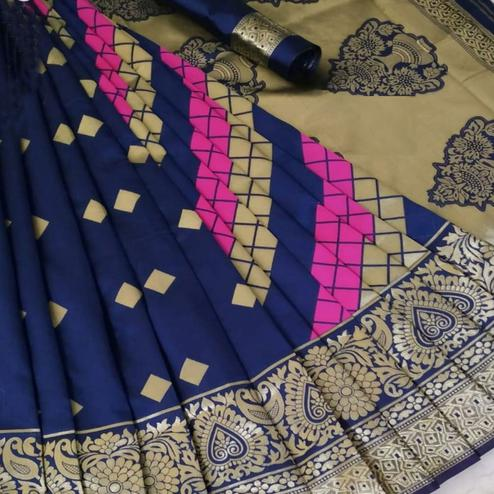 Charming Blue Coloured Festive Wear Woven Banarasi Silk Saree