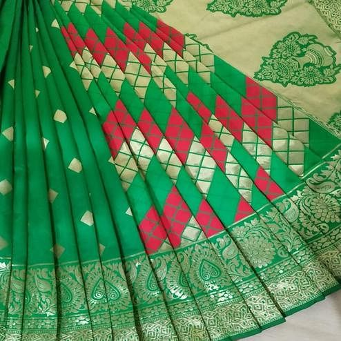 Dazzing Green Coloured Festive Wear Woven Banarasi Silk Saree