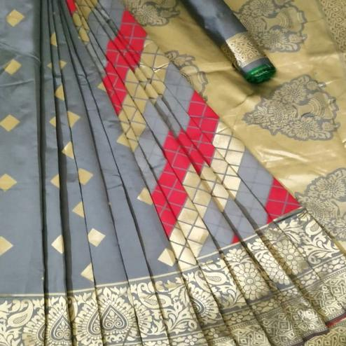 Cute Grey Coloured Festive Wear Woven Banarasi Silk Saree