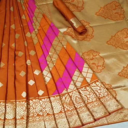 Lovely Orange Coloured Festive Wear Woven Banarasi Silk Saree