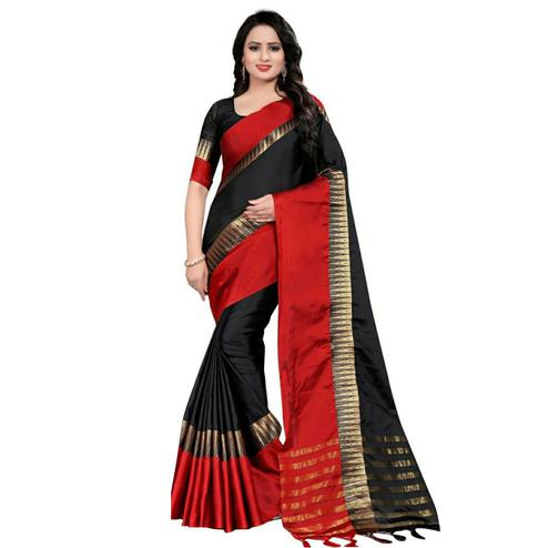Lovely Black Coloured Festive Wear Aura Silk Saree