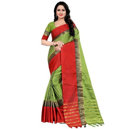 Cute Green Coloured Festive Wear Aura Silk Saree