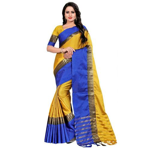 Dazzing Yellow Coloured Festive Wear Aura Silk Saree