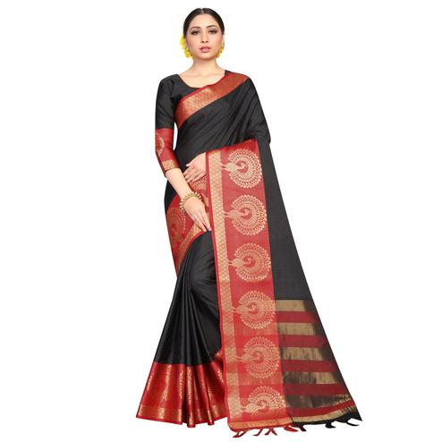 Graceful Black Coloured Festive Wear Aura Silk Saree