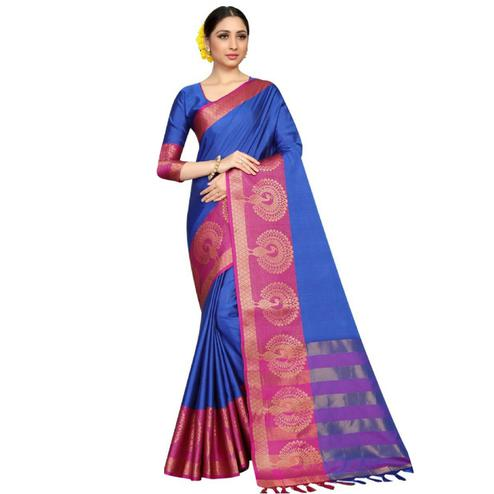 Preety Blue Coloured Festive Wear Aura Silk Saree