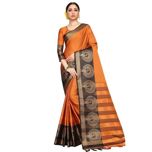 Amazing Orange Coloured Festive Wear Aura Silk Saree