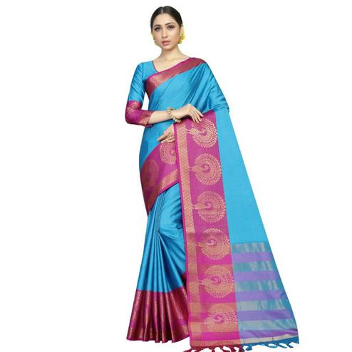 Cute Sky Blue Coloured Festive Wear Aura Silk Saree