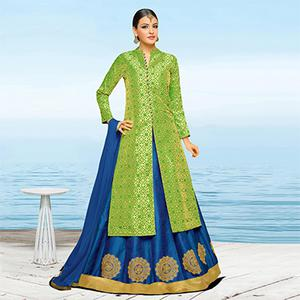 Gorgeous Green-Blue Colored Designer Embroidered Art Silk And Brocade Lehenga Kameez