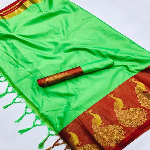 Charming Green Coloured Festive Wear Aura Silk Saree