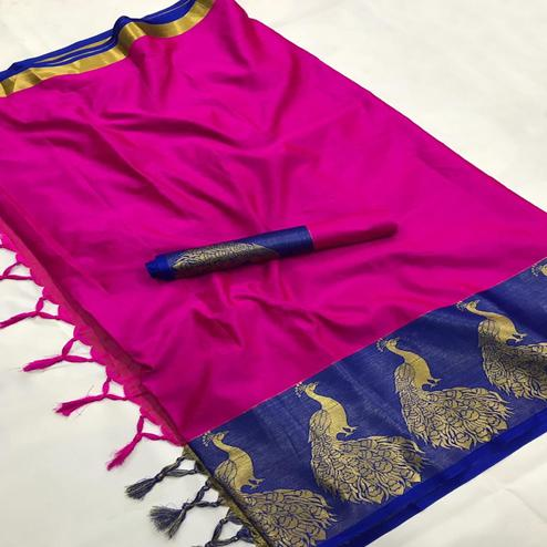 Attractive Pink Coloured Festive Wear Aura Silk Saree