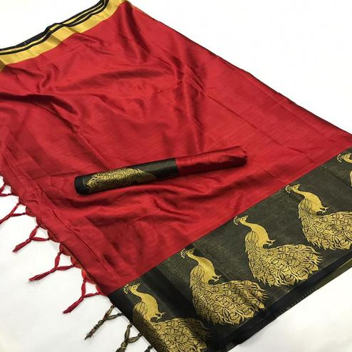 Exotic Red Coloured Festive Wear Aura Silk Saree