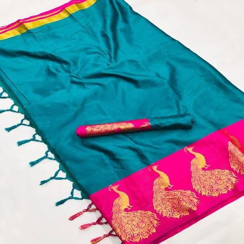 Arresting Sky blue Coloured Festive Wear Aura Silk Saree