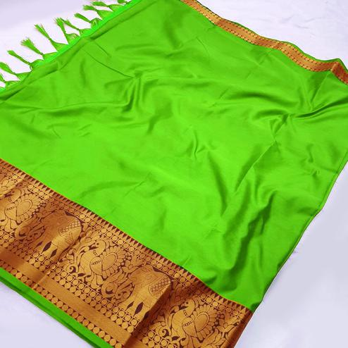 Glorious Green Coloured Festive Wear Aura Silk Saree