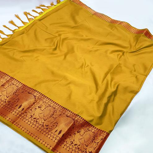 Lovely Yellow Coloured Festive Wear Aura Silk Saree