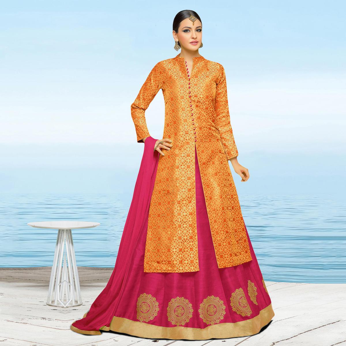 5d58d5e30b Buy Attractive Orange-Pink Colored Designer Embroidered Art Silk And Brocade  Lehenga Kameez for womens online India, Best Prices, Reviews - Peachmode