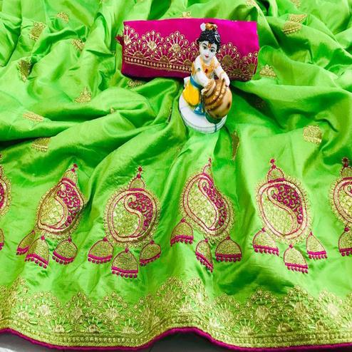 Surpassing Green Coloured Party Wear Embroidered Sana Silk Saree