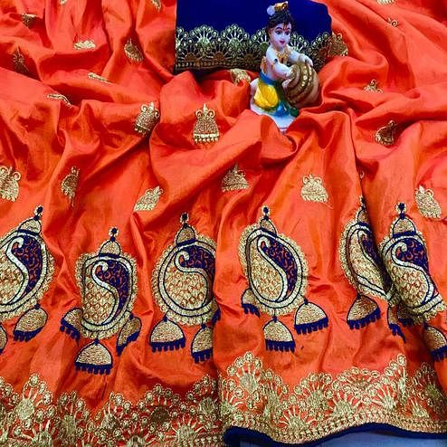 Adorable Orange Coloured Party Wear Embroidered Sana Silk Saree
