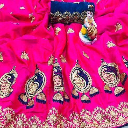 Charming Pink Coloured Party Wear Embroidered Sana Silk Saree