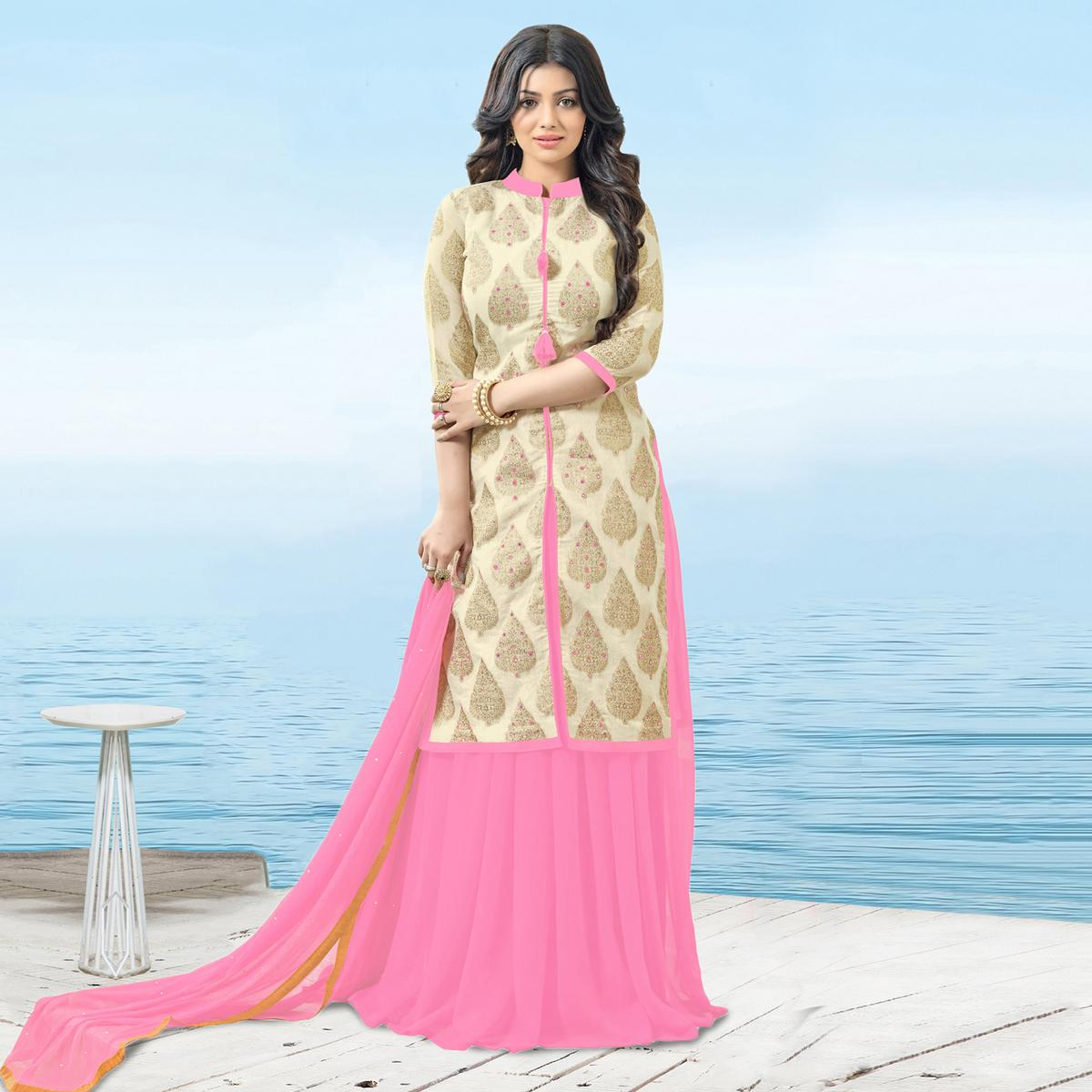 Mesmerising Beige-Pink Designer Mirror Effect Worked Georgette And Chanderi Silk Lehenga Kameez