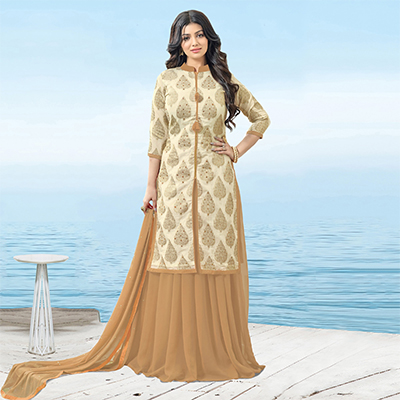Lovely Beige Designer Mirror Effect Worked Georgette And Chanderi Silk Lehenga Kameez