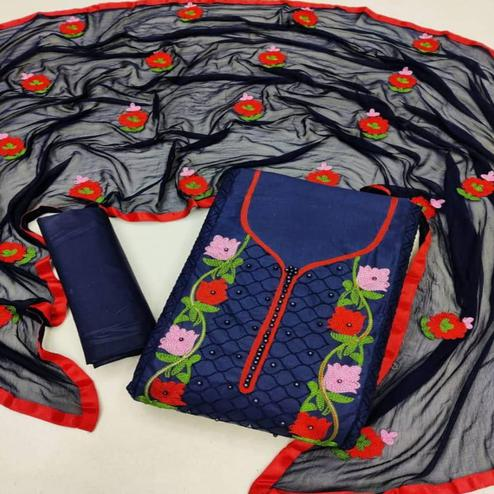 Eye-catching Navy Blue Coloured Neck Work Casual Wear Cotton Dress Material