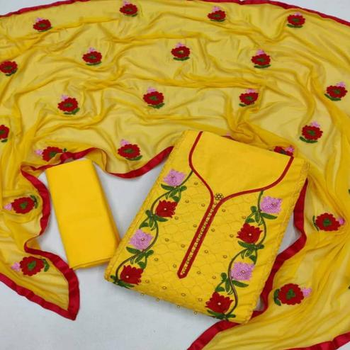 Mesmeric Yellow Coloured Neck Work Casual Wear Cotton Dress Material