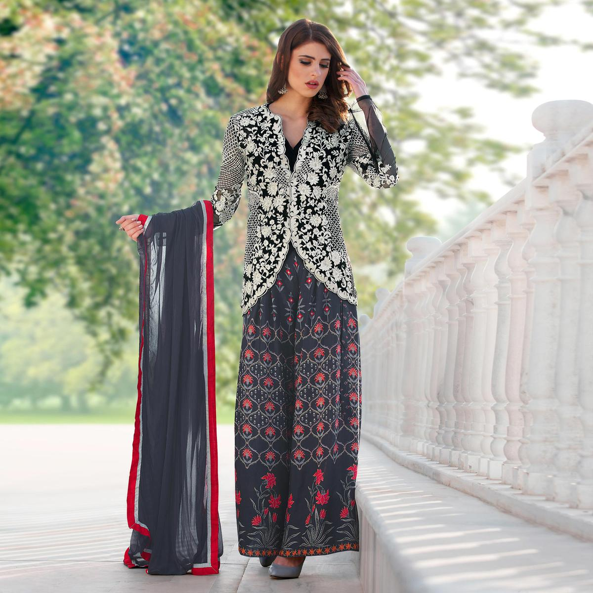 Gray-Black Digital Printed & Embroidered Designer Partywear Jacket Style Cotton Silk Palazzo Suit