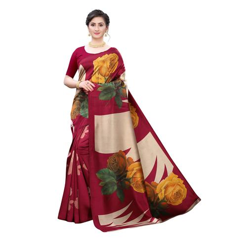 Adorning Red Colored Casual Wear Floral Printed Art Silk Saree