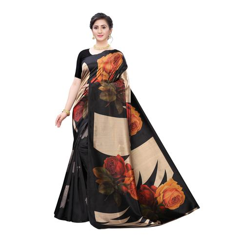 Groovy Black Colored Casual Wear Floral Printed Art Silk Saree