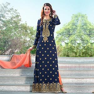 Mesmerising Blue Colored Designer Embroidered Partywear Georgette Salwar Suit