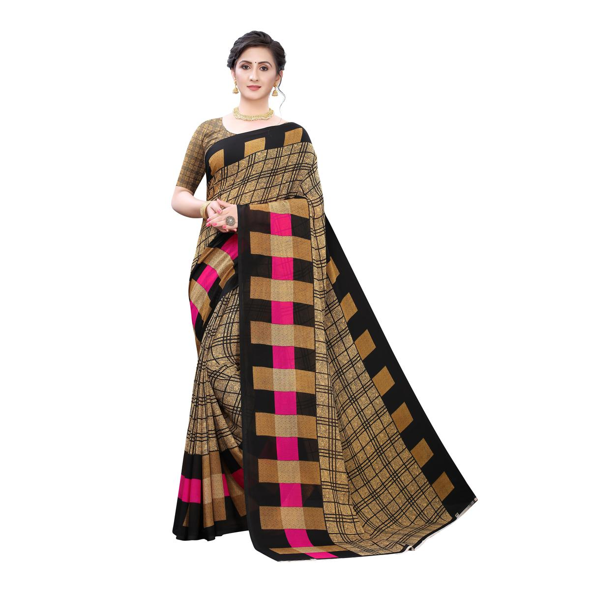 Magnetic Beige Colored Casual Wear Geometric Printed Georgette Saree