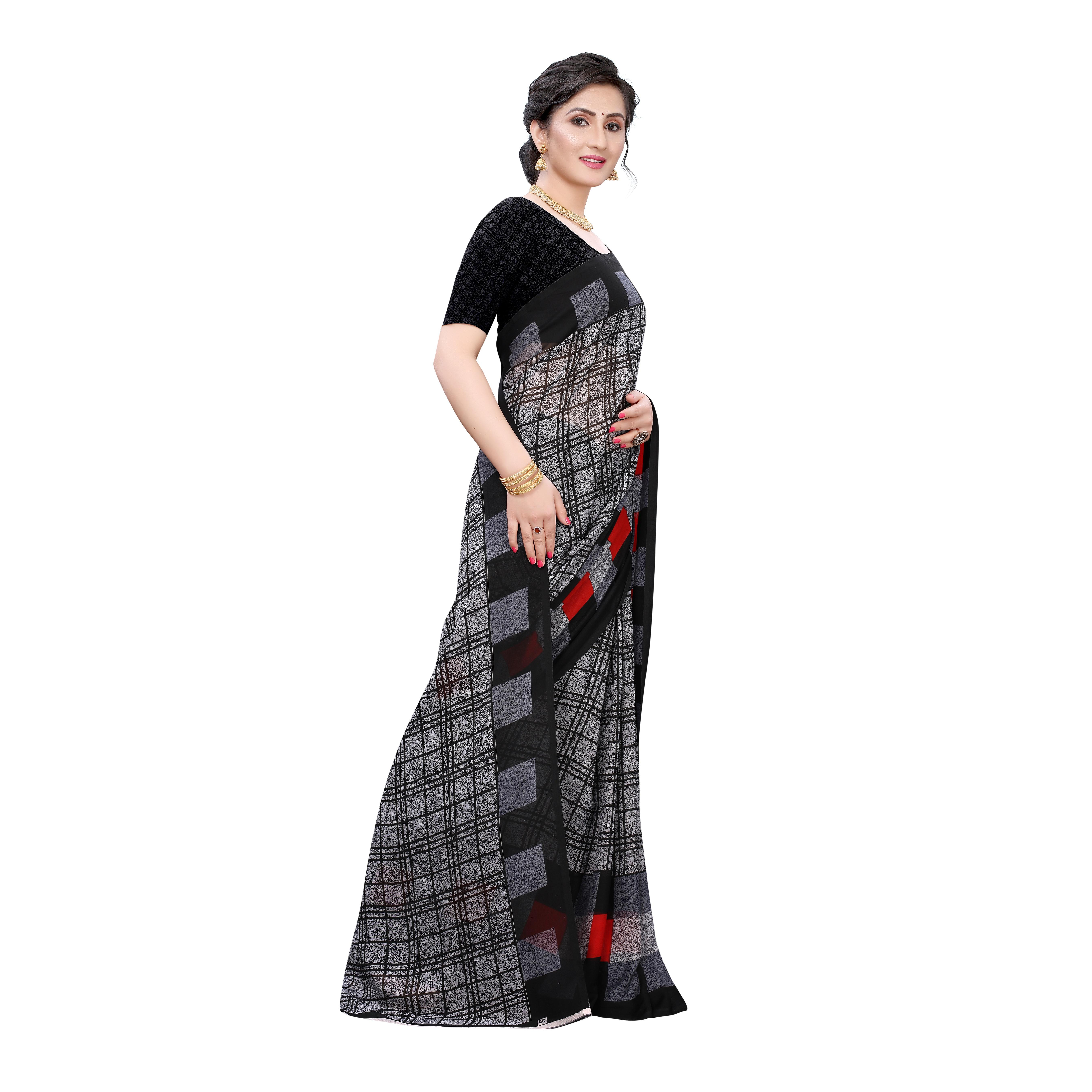 Refreshing Grey Colored Casual Wear Geometric Printed Georgette Saree
