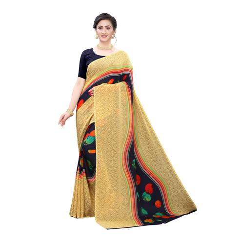 Mesmeric Beige-Blue Colored Casual Wear Printed Georgette Saree