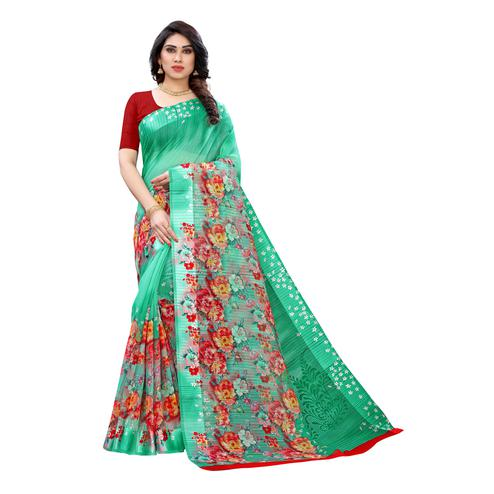 Elegant Green Colored Casual Wear Floral Printed Linen Saree