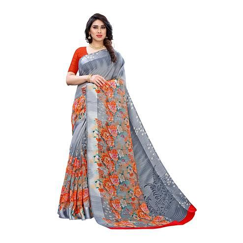 Trendy Grey Colored Casual Wear Floral Printed Linen Saree