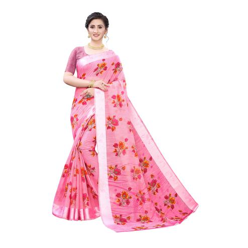 Sophisticated Pink Colored Casual Wear Floral Printed Linen Saree