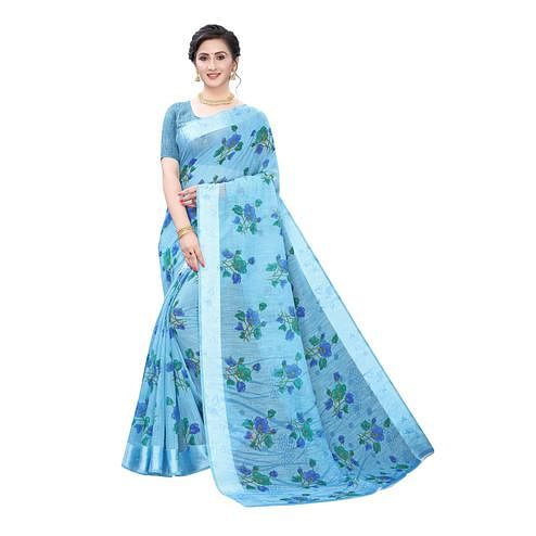 Desirable Blue Colored Casual Wear Floral Printed Linen Saree