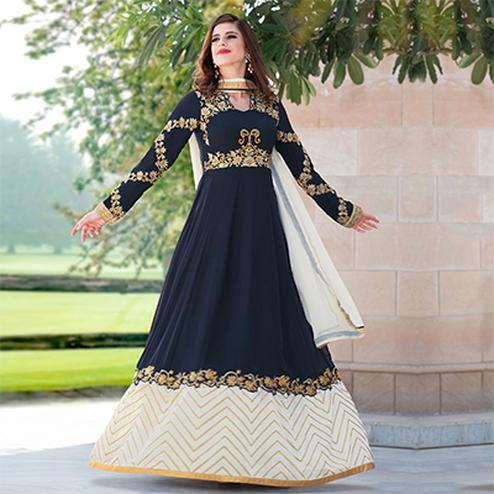 Gorgeous Navy Blue Colored Designer Embroidered Partywear Georgette Abaya Style Anarkali Suit