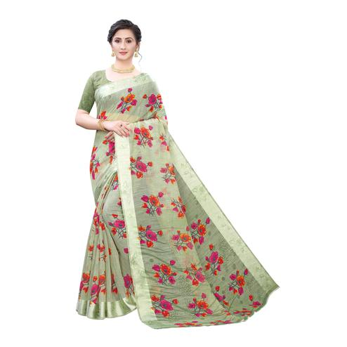 Arresting Light Green Colored Casual Wear Floral Printed Linen Saree