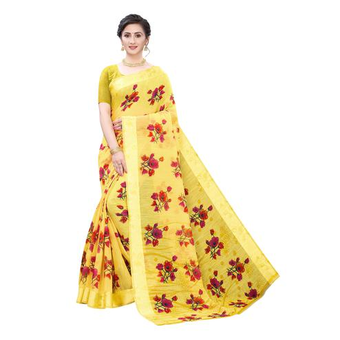 Intricate Yellow Colored Casual Wear Floral Printed Linen Saree