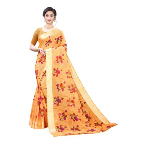 Surpassing Orange Colored Casual Wear Floral Printed Linen Saree